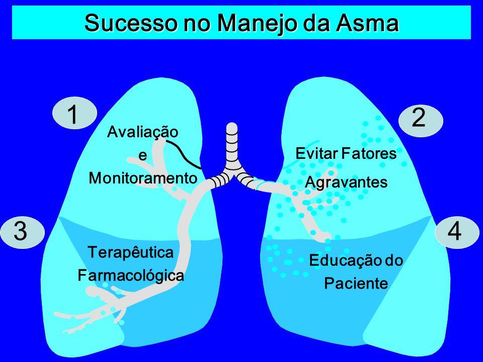 1 3 2 4 Avaliação e Monitoramento Evitar Fatores Agravantes Terapêutica Farmacológica Educação do Paciente Sucesso no Manejo da Asma