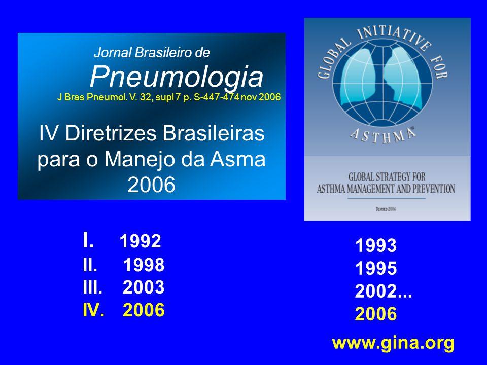 Jornal Brasileiro de Pneumologia J Bras Pneumol. V. 32, supl 7 p. S-447-474 nov 2006 IV Diretrizes Brasileiras para o Manejo da Asma 2006 I. 1992 II.