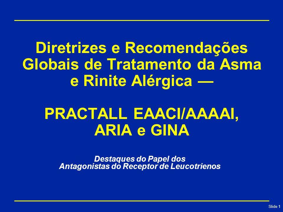 Slide 1 Diretrizes e Recomendações Globais de Tratamento da Asma e Rinite Alérgica — PRACTALL EAACI/AAAAI, ARIA e GINA Destaques do Papel dos Antagonistas do Receptor de Leucotrienos