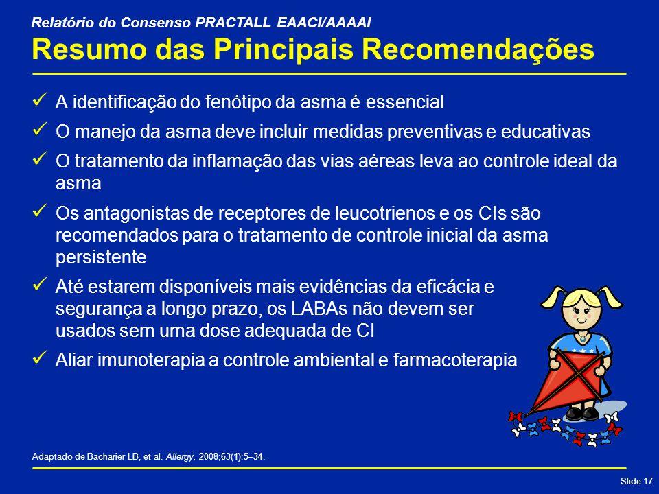 Slide 17 Resumo das Principais Recomendações A identificação do fenótipo da asma é essencial O manejo da asma deve incluir medidas preventivas e educativas O tratamento da inflamação das vias aéreas leva ao controle ideal da asma Os antagonistas de receptores de leucotrienos e os CIs são recomendados para o tratamento de controle inicial da asma persistente Até estarem disponíveis mais evidências da eficácia e segurança a longo prazo, os LABAs não devem ser usados sem uma dose adequada de CI Aliar imunoterapia a controle ambiental e farmacoterapia Adaptado de Bacharier LB, et al.