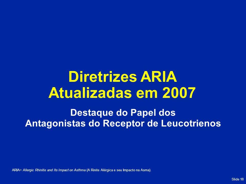 Slide 18 Diretrizes ARIA Atualizadas em 2007 ARIA= Allergic Rhinitis and Its Impact on Asthma (A Rinite Alérgica e seu Impacto na Asma).