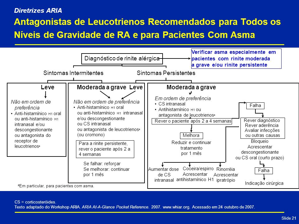 Slide 21 Antagonistas de Leucotrienos Recomendados para Todos os Níveis de Gravidade de RA e para Pacientes Com Asma CS = corticosteróides.