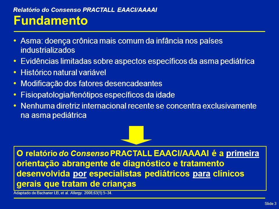 Slide 3 Fundamento Asma: doença crônica mais comum da infância nos países industrializados Evidências limitadas sobre aspectos específicos da asma pediátrica Histórico natural variável Modificação dos fatores desencadeantes Fisiopatologia/fenótipos específicos da idade Nenhuma diretriz internacional recente se concentra exclusivamente na asma pediátrica Adaptado de Bacharier LB, et al.