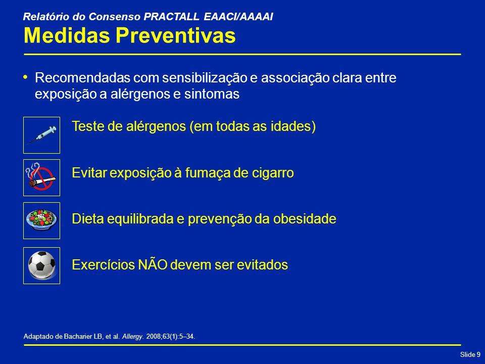 Slide 9 Medidas Preventivas Recomendadas com sensibilização e associação clara entre exposição a alérgenos e sintomas Adaptado de Bacharier LB, et al.