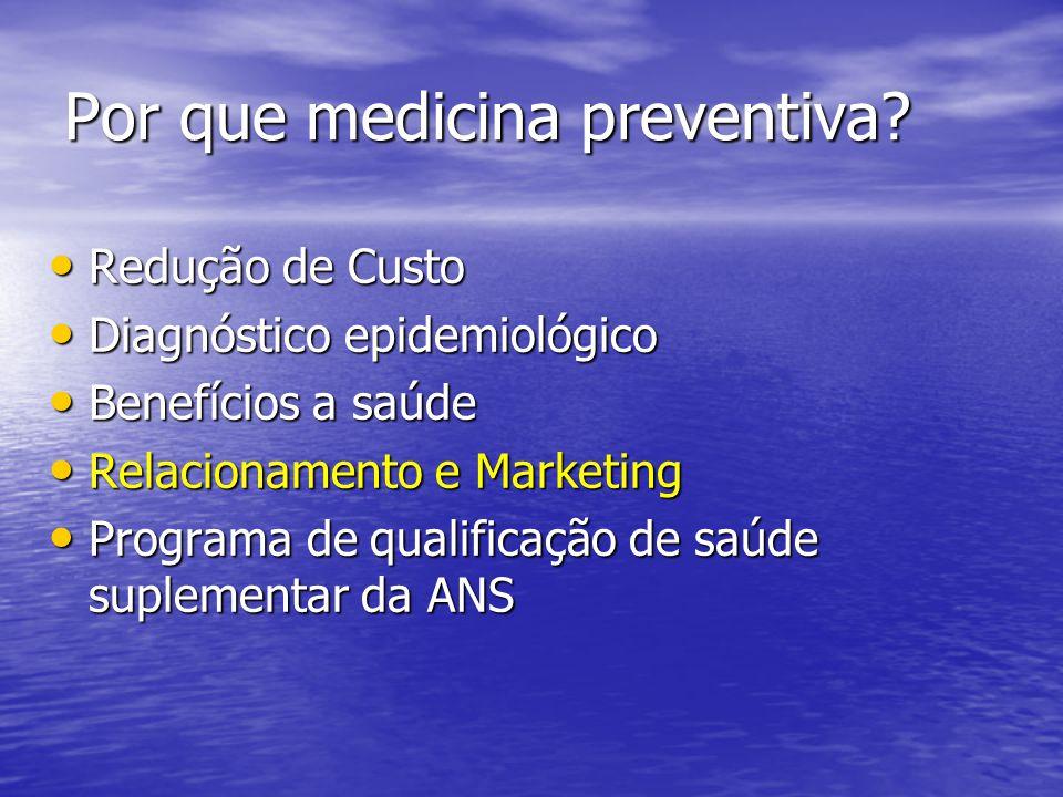 Por que medicina preventiva? Redução de Custo Redução de Custo Diagnóstico epidemiológico Diagnóstico epidemiológico Benefícios a saúde Benefícios a s