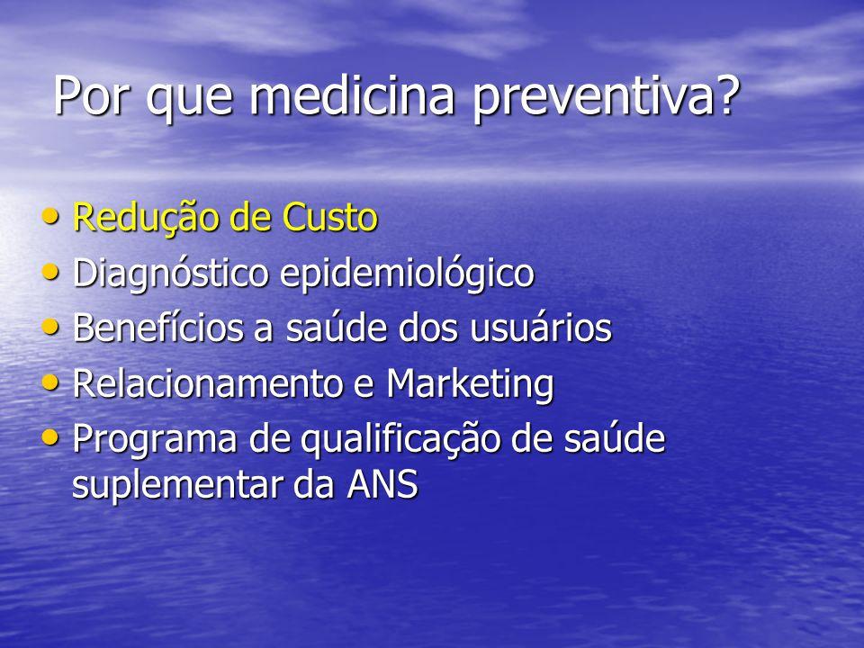 Por que medicina preventiva? Redução de Custo Redução de Custo Diagnóstico epidemiológico Diagnóstico epidemiológico Benefícios a saúde dos usuários B