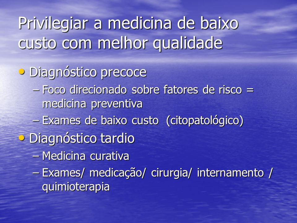 Privilegiar a medicina de baixo custo com melhor qualidade Diagnóstico precoce Diagnóstico precoce –Foco direcionado sobre fatores de risco = medicina