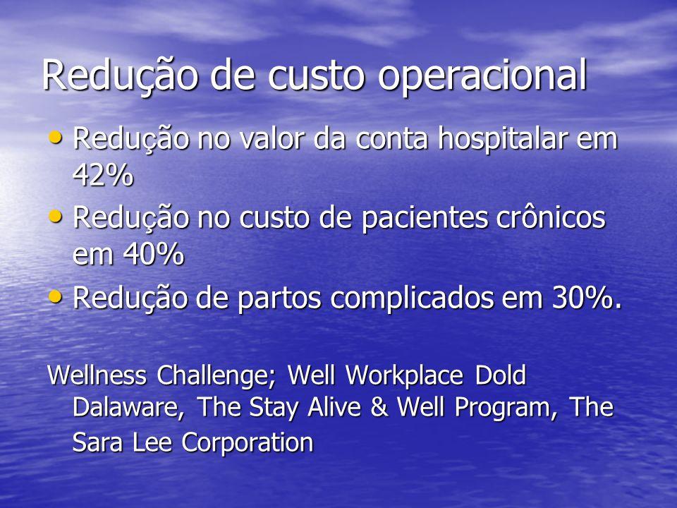 Redução de custo operacional Redu ç ão no valor da conta hospitalar em 42% Redu ç ão no valor da conta hospitalar em 42% Redu ç ão no custo de pacient