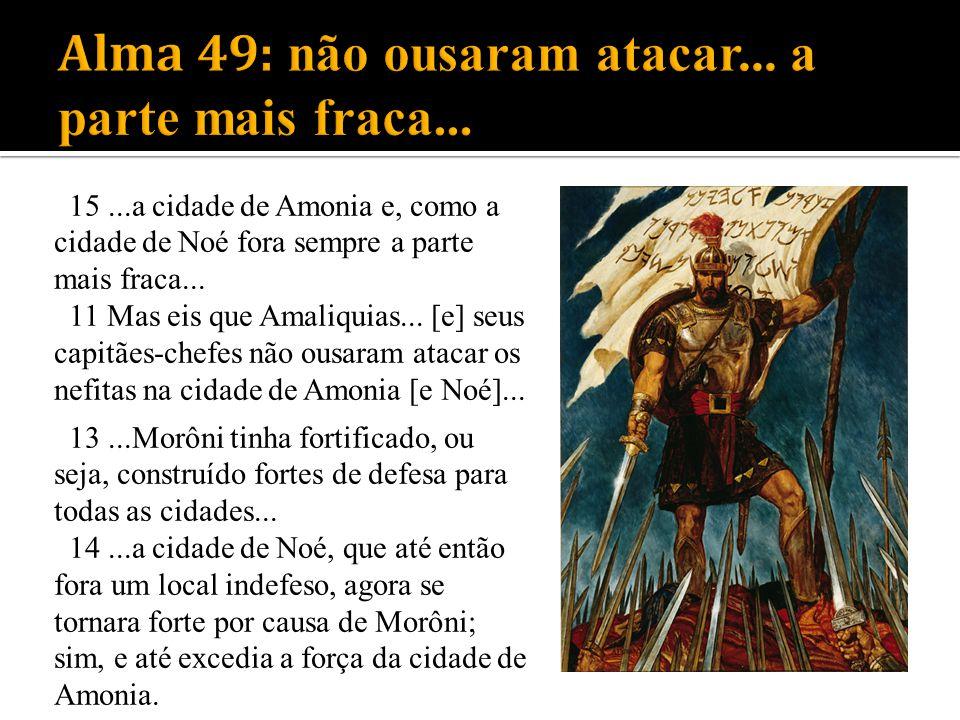 15...a cidade de Amonia e, como a cidade de Noé fora sempre a parte mais fraca... 11 Mas eis que Amaliquias... [e] seus capitães-chefes não ousaram at