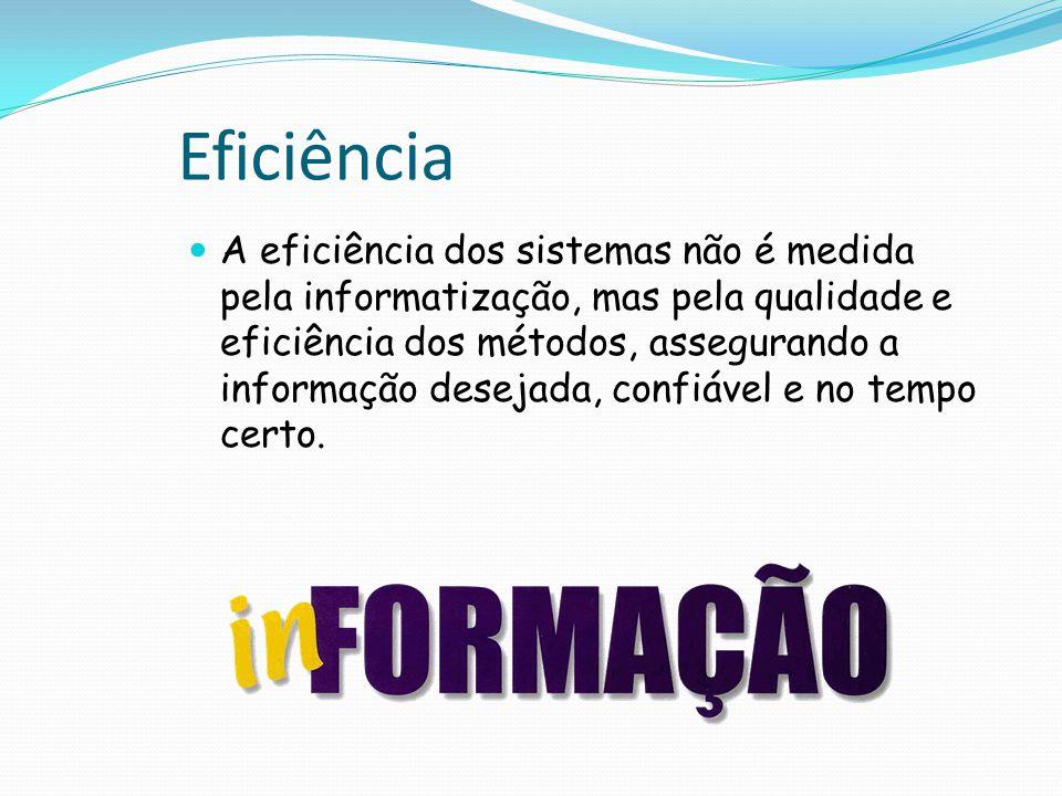 Eficiência A eficiência dos sistemas não é medida pela informatização, mas pela qualidade e eficiência dos métodos, assegurando a informação desejada, confiável e no tempo certo.