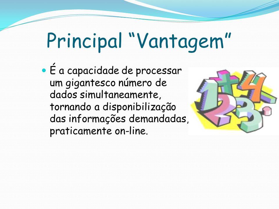 Principal Vantagem É a capacidade de processar um gigantesco número de dados simultaneamente, tornando a disponibilização das informações demandadas, praticamente on-line.