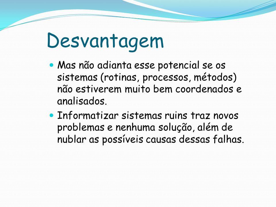 Desvantagem Mas não adianta esse potencial se os sistemas (rotinas, processos, métodos) não estiverem muito bem coordenados e analisados.