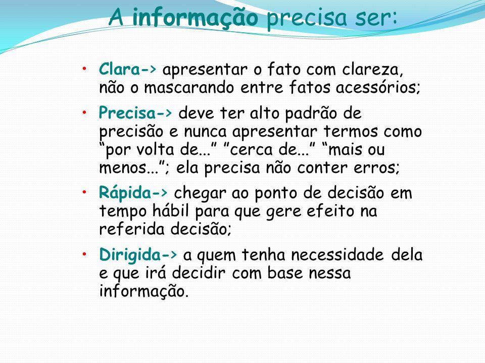 A informação precisa ser: Clara-> apresentar o fato com clareza, não o mascarando entre fatos acessórios; Precisa-> deve ter alto padrão de precisão e