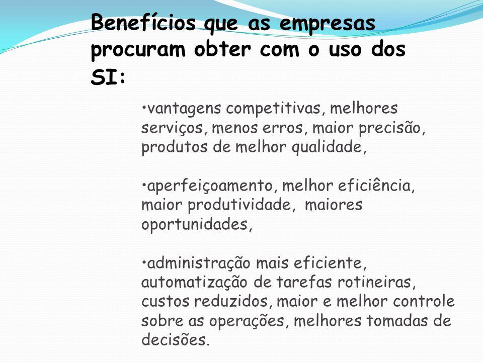 Benefícios que as empresas procuram obter com o uso dos SI: vantagens competitivas, melhores serviços, menos erros, maior precisão, produtos de melhor