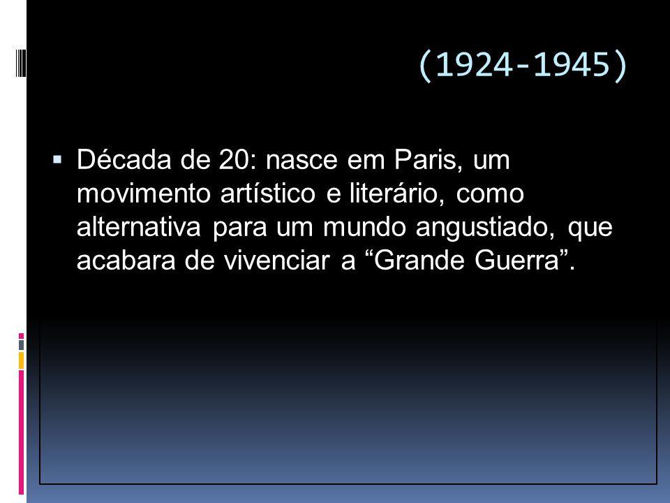 (1924-1945)  Década de 20: nasce em Paris, um movimento artístico e literário, como alternativa para um mundo angustiado, que acabara de vivenciar a