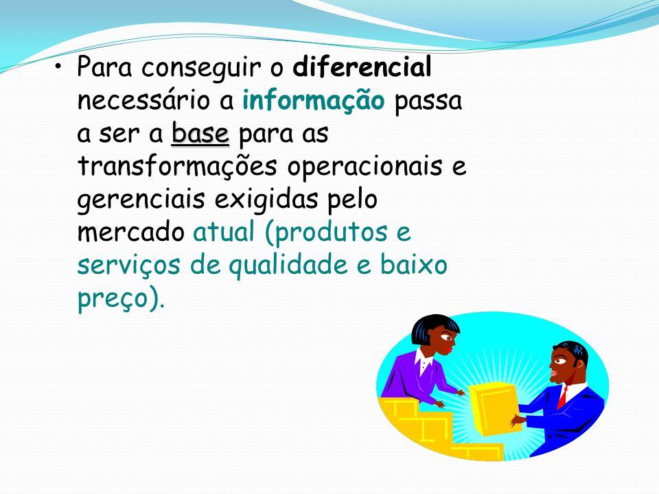 basePara conseguir o diferencial necessário a informação passa a ser a base para as transformações operacionais e gerenciais exigidas pelo mercado atual (produtos e serviços de qualidade e baixo preço).