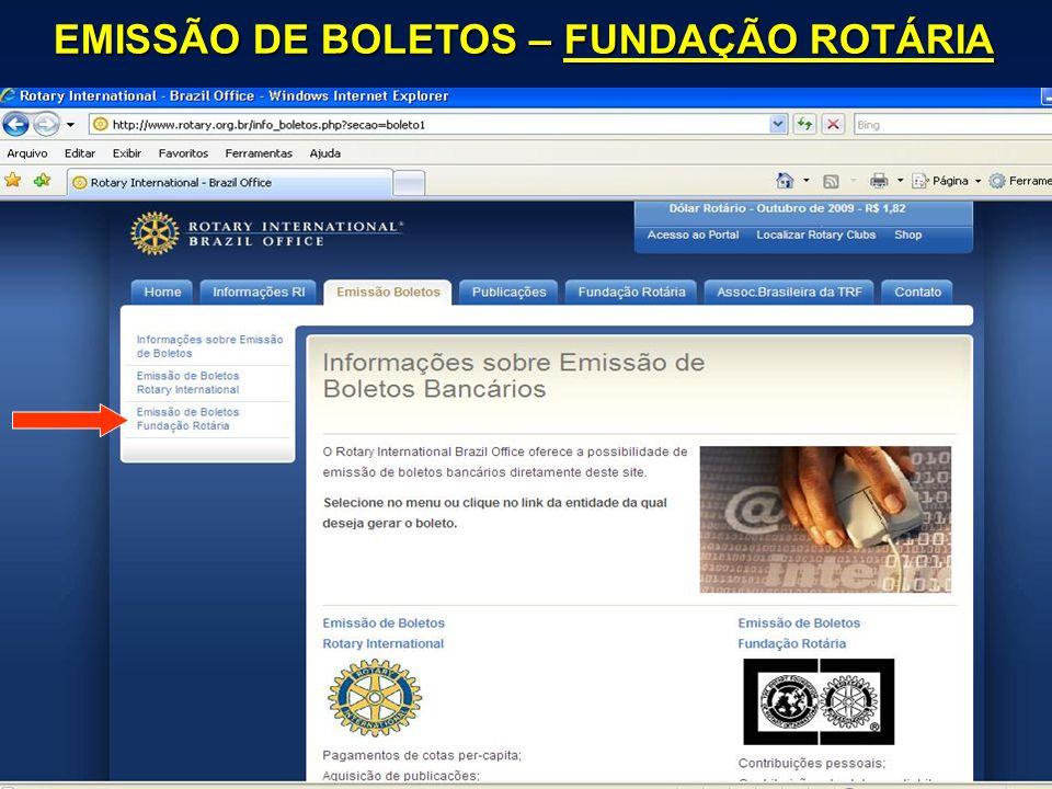EMISSÃO DE BOLETOS – FUNDAÇÃO ROTÁRIA