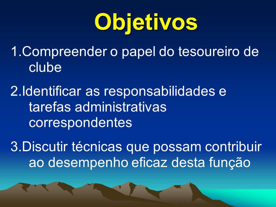1.Compreender o papel do tesoureiro de clube 2.Identificar as responsabilidades e tarefas administrativas correspondentes 3.Discutir técnicas que poss
