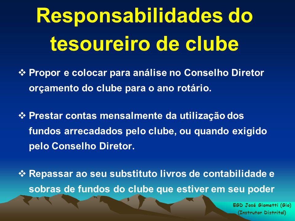 Responsabilidades do tesoureiro de clube  Propor e colocar para análise no Conselho Diretor orçamento do clube para o ano rotário.  Prestar contas m