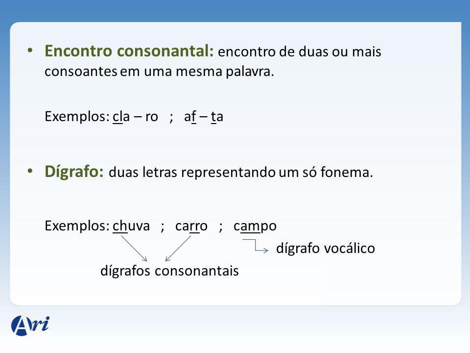 Encontro consonantal: encontro de duas ou mais consoantes em uma mesma palavra.