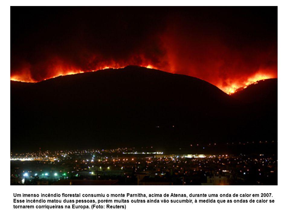 Um imenso incêndio florestal consumiu o monte Parnitha, acima de Atenas, durante uma onda de calor em 2007. Esse incêndio matou duas pessoas, porém mu