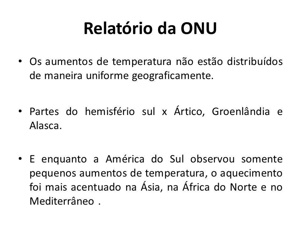 Relatório da ONU Os aumentos de temperatura não estão distribuídos de maneira uniforme geograficamente. Partes do hemisfério sul x Ártico, Groenlândia