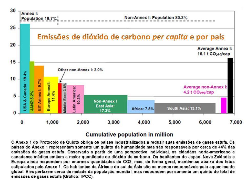 O Anexo 1 do Protocolo de Quioto obriga os países industrializados a reduzir suas emissões de gases estufa. Os países do Anexo 1 representam somente u