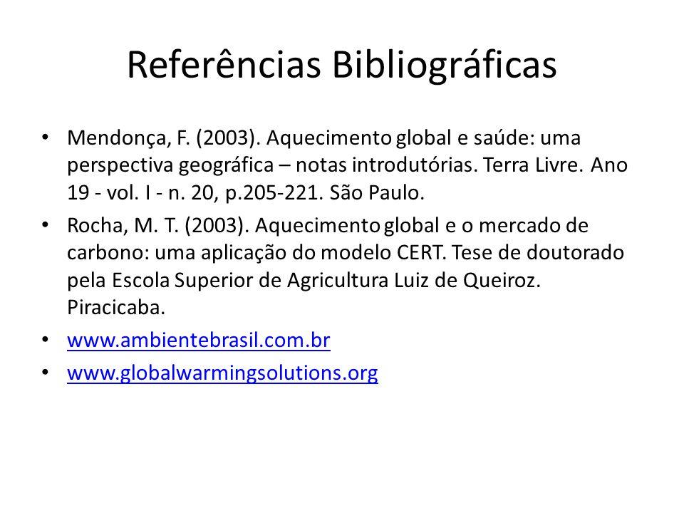 Referências Bibliográficas Mendonça, F. (2003). Aquecimento global e saúde: uma perspectiva geográfica – notas introdutórias. Terra Livre. Ano 19 - vo