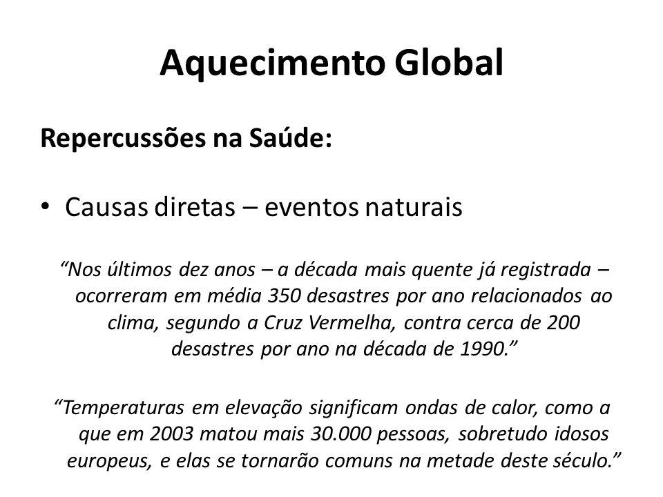 """Aquecimento Global Repercussões na Saúde: Causas diretas – eventos naturais """"Nos últimos dez anos – a década mais quente já registrada – ocorreram em"""