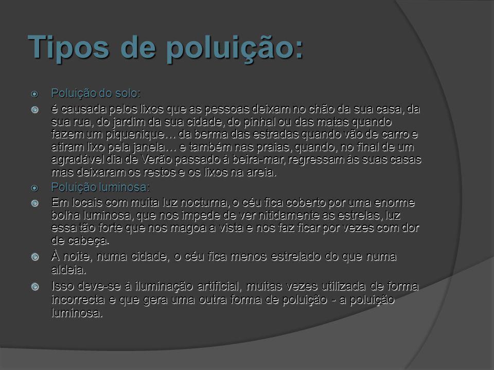 Poluição do solo e Poluição Luminosa: