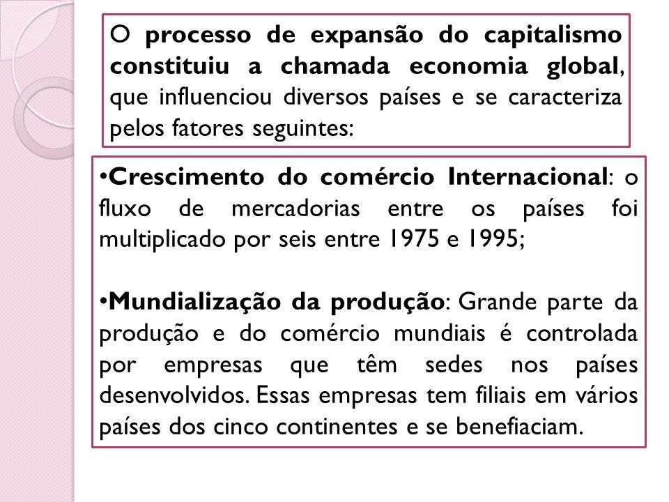 O processo de expansão do capitalismo constituiu a chamada economia global, que influenciou diversos países e se caracteriza pelos fatores seguintes: