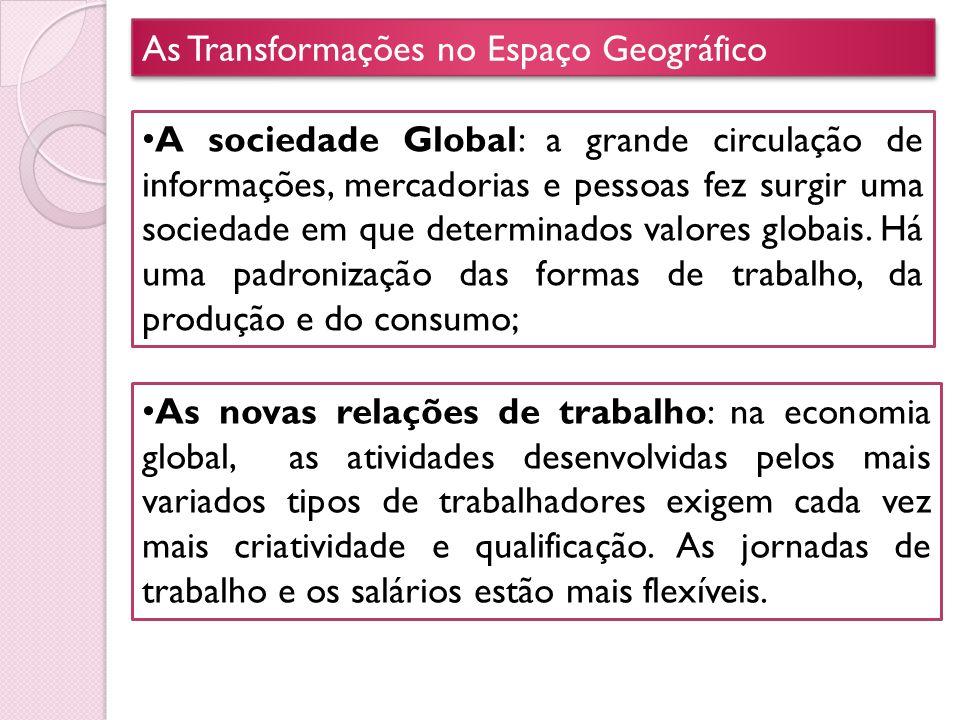As Transformações no Espaço Geográfico A sociedade Global: a grande circulação de informações, mercadorias e pessoas fez surgir uma sociedade em que d