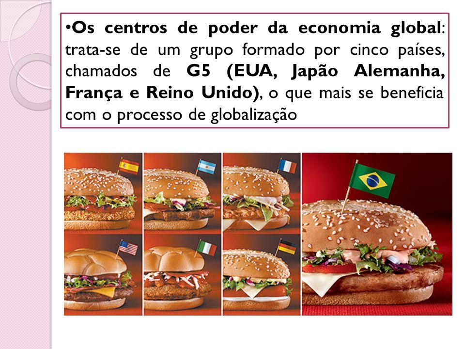 Os centros de poder da economia global: trata-se de um grupo formado por cinco países, chamados de G5 (EUA, Japão Alemanha, França e Reino Unido), o q