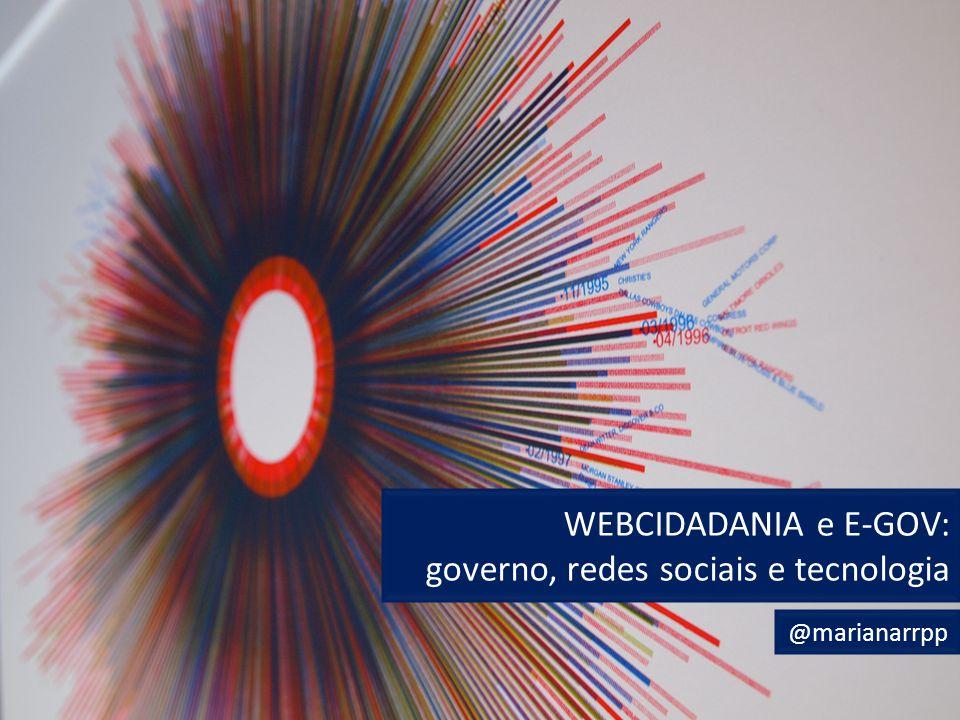 E-GOV e Cidadania Datademocracy WEBCIDADANIA e E-GOV: governo, redes sociais e tecnologia @marianarrpp