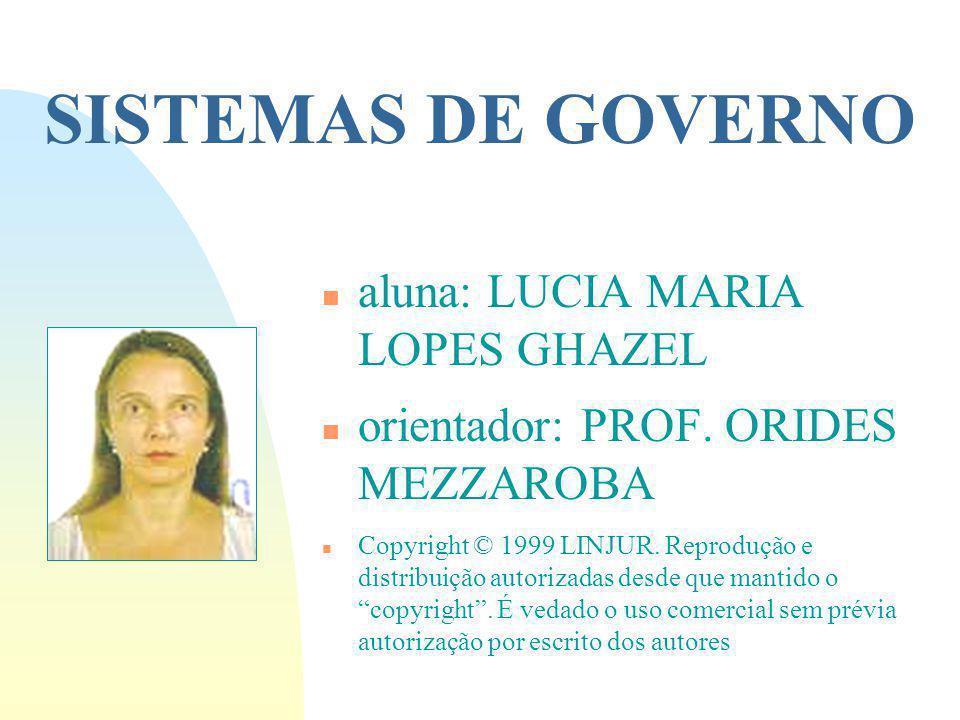 SISTEMAS DE GOVERNO n aluna: LUCIA MARIA LOPES GHAZEL n orientador: PROF.