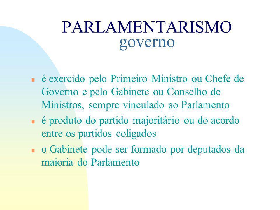 PARLAMENTARISMO governo n é exercido pelo Primeiro Ministro ou Chefe de Governo e pelo Gabinete ou Conselho de Ministros, sempre vinculado ao Parlamento n é produto do partido majoritário ou do acordo entre os partidos coligados n o Gabinete pode ser formado por deputados da maioria do Parlamento