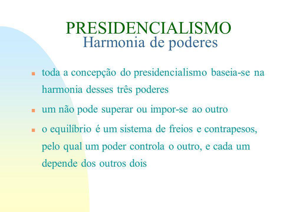 n toda a concepção do presidencialismo baseia-se na harmonia desses três poderes n um não pode superar ou impor-se ao outro n o equilíbrio é um sistema de freios e contrapesos, pelo qual um poder controla o outro, e cada um depende dos outros dois PRESIDENCIALISMO Harmonia de poderes