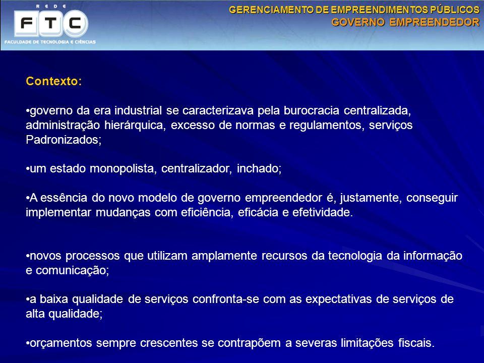 Contexto: governo da era industrial se caracterizava pela burocracia centralizada, administração hierárquica, excesso de normas e regulamentos, serviç