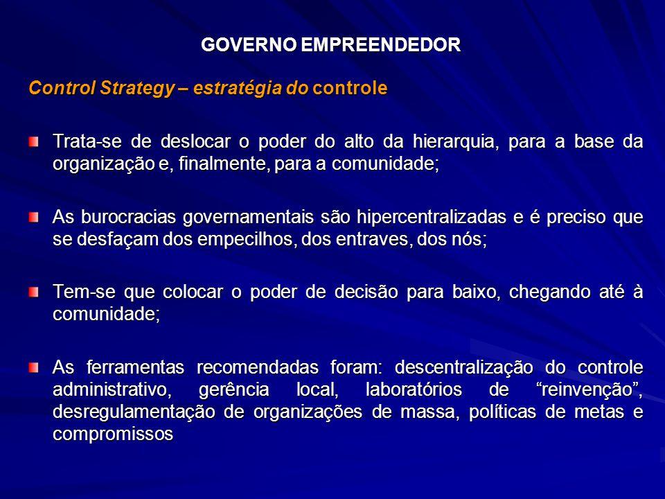 GOVERNO EMPREENDEDOR Control Strategy – estratégia do controle Trata-se de deslocar o poder do alto da hierarquia, para a base da organização e, final