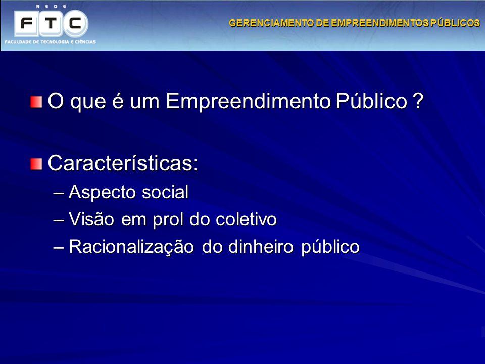 GERENCIAMENTO DE EMPREENDIMENTOS PÚBLICOS O que é um Empreendimento Público ? Características: –Aspecto social –Visão em prol do coletivo –Racionaliza