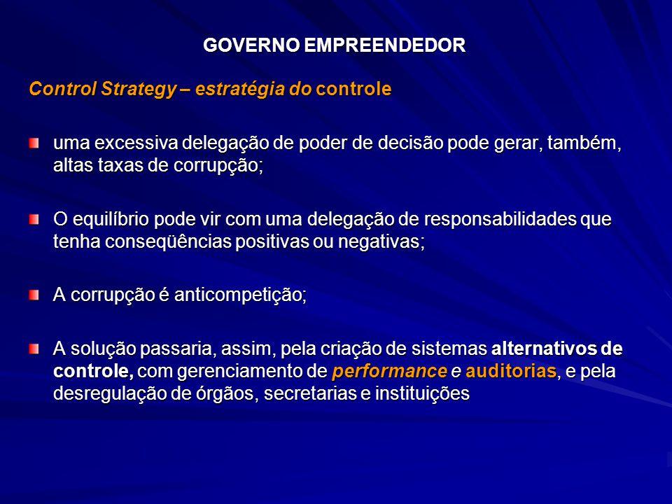 GOVERNO EMPREENDEDOR Control Strategy – estratégia do controle uma excessiva delegação de poder de decisão pode gerar, também, altas taxas de corrupçã