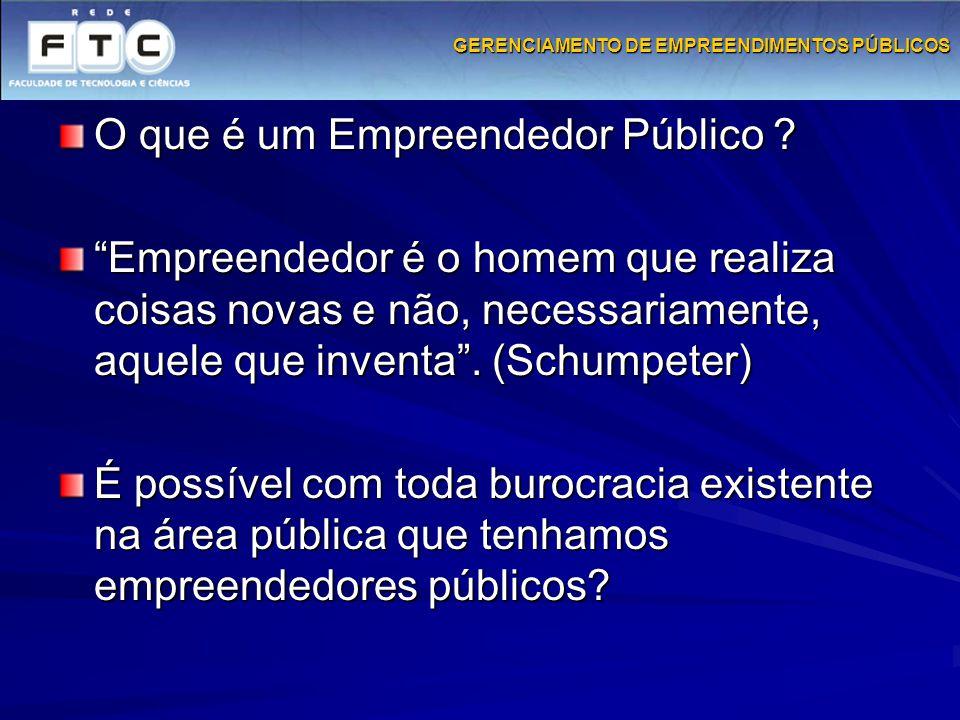 """GERENCIAMENTO DE EMPREENDIMENTOS PÚBLICOS O que é um Empreendedor Público ? """"Empreendedor é o homem que realiza coisas novas e não, necessariamente, a"""