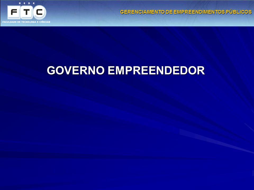GOVERNO EMPREENDEDOR GERENCIAMENTO DE EMPREENDIMENTOS PÚBLICOS