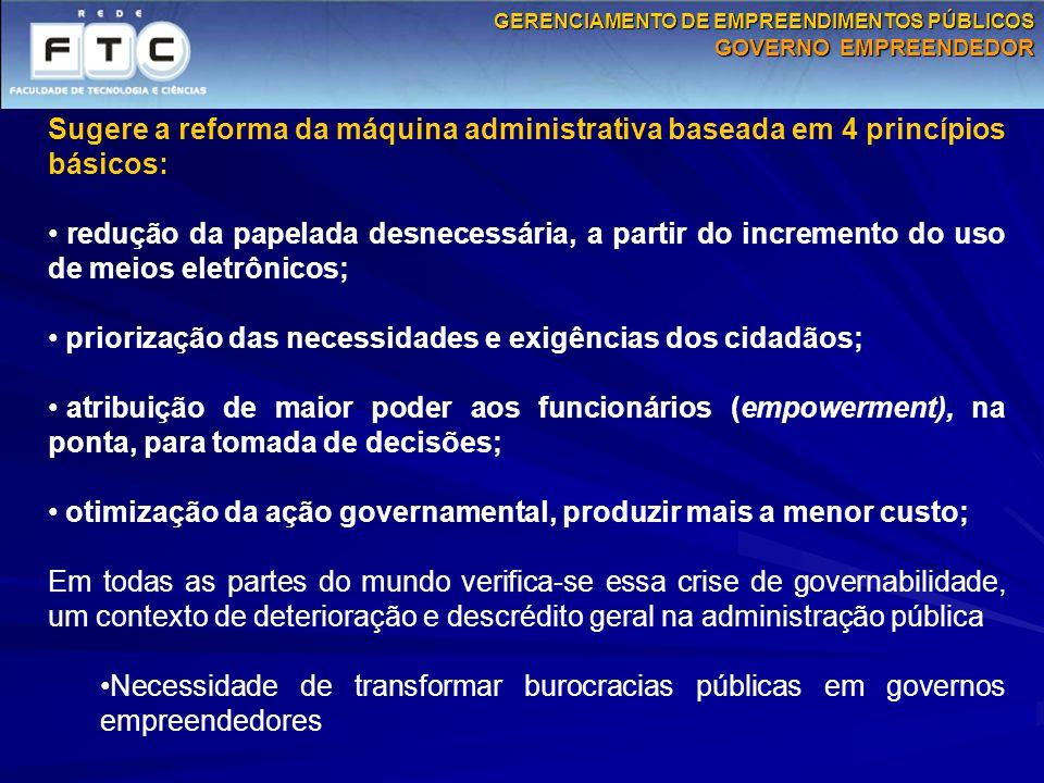 Sugere a reforma da máquina administrativa baseada em 4 princípios básicos: redução da papelada desnecessária, a partir do incremento do uso de meios