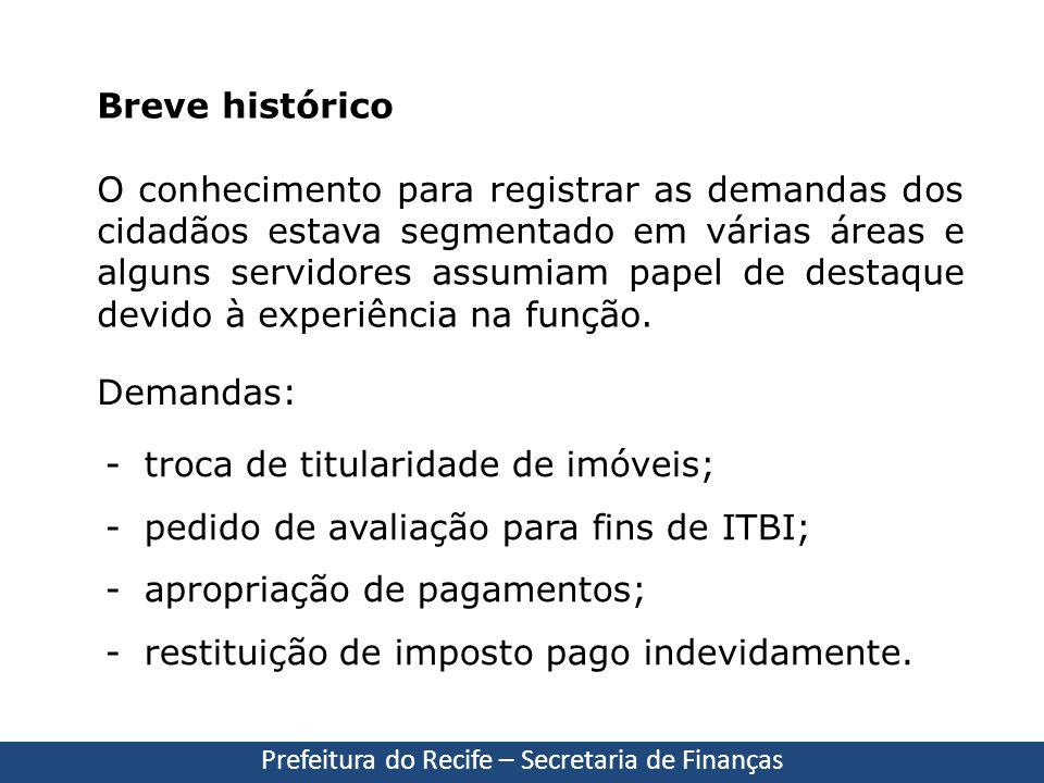 Prefeitura do Recife – Secretaria de Finanças Breve histórico O conhecimento para registrar as demandas dos cidadãos estava segmentado em várias áreas
