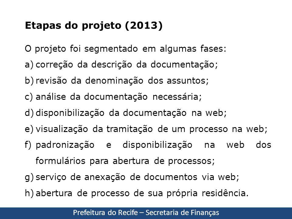 O projeto foi segmentado em algumas fases: a)correção da descrição da documentação; b)revisão da denominação dos assuntos; c)análise da documentação n