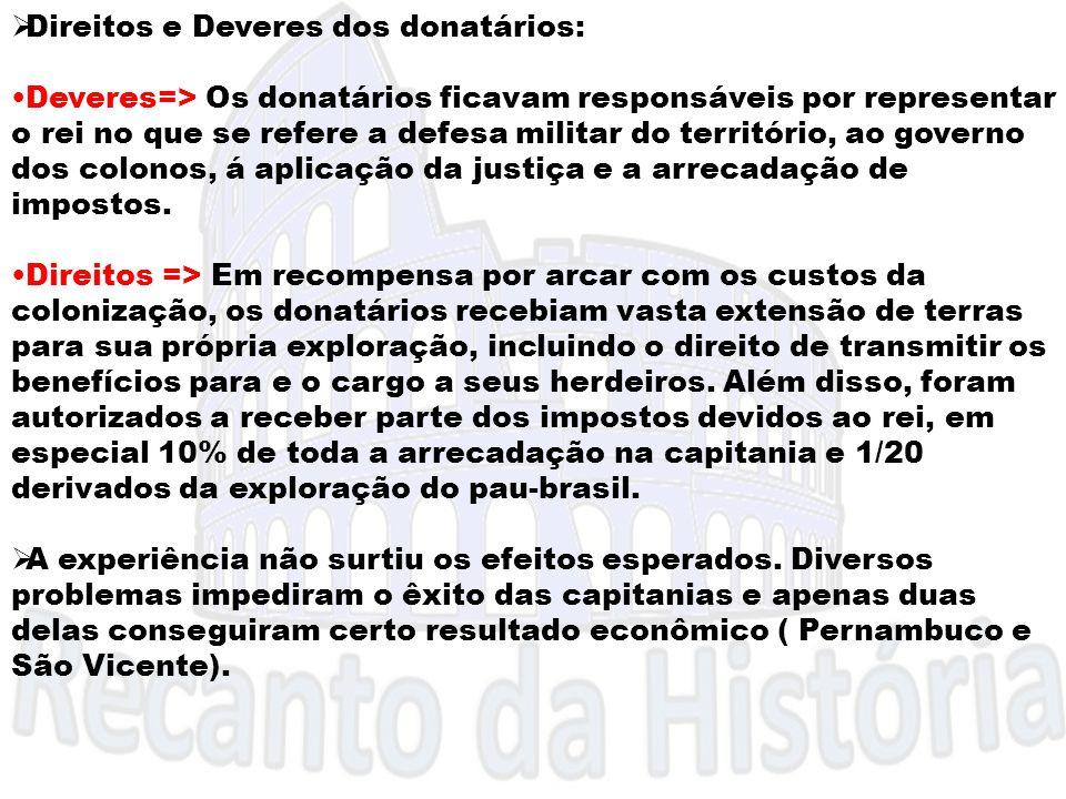  Direitos e Deveres dos donatários: Deveres=> Os donatários ficavam responsáveis por representar o rei no que se refere a defesa militar do territóri