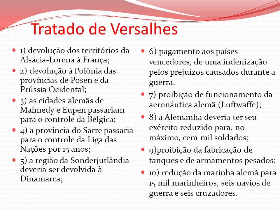 Tratado de Versalhes 1) devolução dos territórios da Alsácia-Lorena à França; 2) devolução à Polônia das províncias de Posen e da Prússia Ocidental; 3