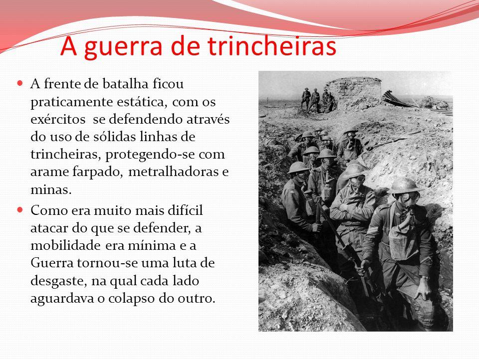 A guerra de trincheiras A frente de batalha ficou praticamente estática, com os exércitos se defendendo através do uso de sólidas linhas de trincheira