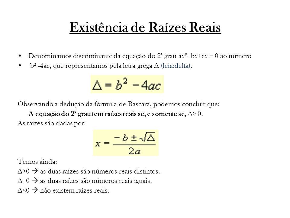 Existência de Raízes Reais Denominamos discriminante da equação do 2° grau ax²+bx+cx = 0 ao número b² -4ac, que representamos pela letra grega ∆ (leia:delta).
